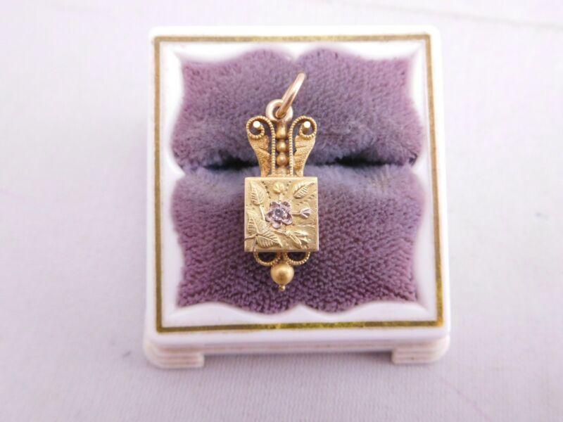 SWEET VICTORIAN 14K SOLID YELLOW GOLD DIAMOND STONE FLOWER CHARM PENDANT