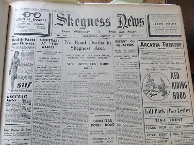 THE SKEGNESS NEWS BOUND VOLUME 1947 & 1948 Spilsby Burgh Wainfleet Orby Boston