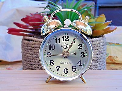 Gold Old Fashioned Alarm Clock Wind Up No Batteries Required USA Stock Twin Bell Old Fashion Alarm Clock