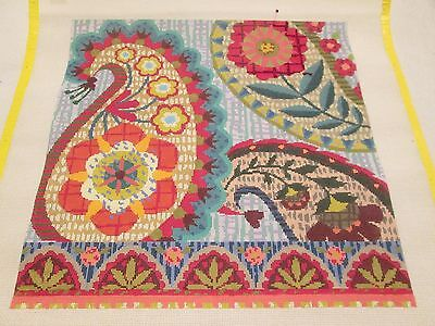 PAISLEY/FLORAL-BIRDS OF A FEATHER-HANDPAINTED NEEDLEPOINT CANVAS