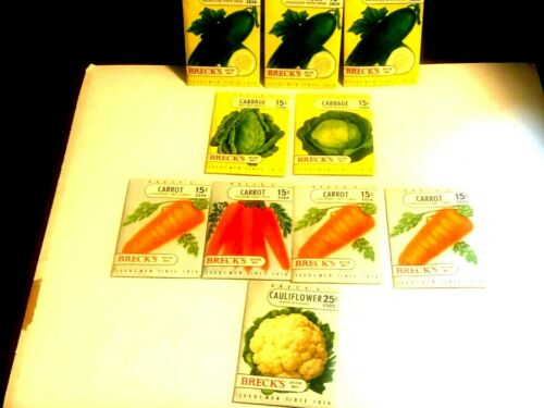 10 SEALED Old Vintage Vegetable SEED PACKETS - BREAK