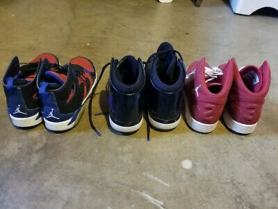 Lot of 3 Pair of Jordan sneakers Gym shoes Red Size 5Y and 5.5