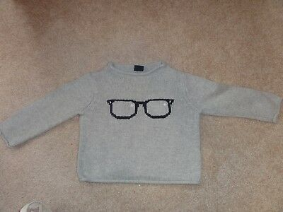 BABY BOY GRAY SWEATER WITH GLASSES IN SIZE 12-18 MONTHS BY BABY GAP](Baby With Glasses)