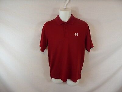 Men Red UNDER ARMOUR Loose Heat Gear Golf Short Sleeve Athletic Workout Shirt S