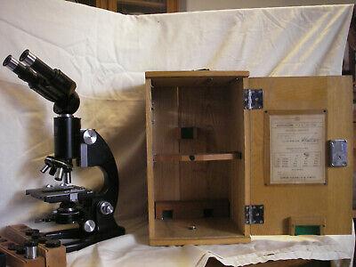 Vintage 1952 Binocular Microscope Nippon Kogaku Tokyo Wcase Euc. Original Cert
