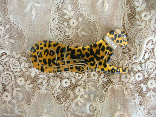 VINTAGE ACRYLIC GOLD-BLACK SPOTTED LEOPARD BARRETTE FRENCH CLIP - MADE IN FRANCE