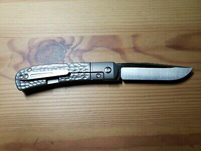 New - Pena X-Series Trapper Front Flipper Folding Knife - Jigged Titanium M390