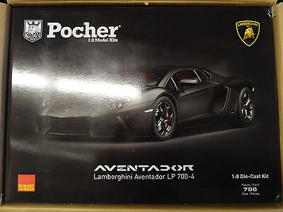 Pocher Lamborghini Aventador LP700-4 Black Argo 1/8 Diecast Model Car Kit HK102
