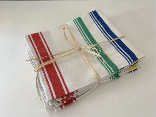 (3) Vintage Blue Yellow Red Stripe COTTON Kitchen Dish TOWELS Pastry Cloths Chic