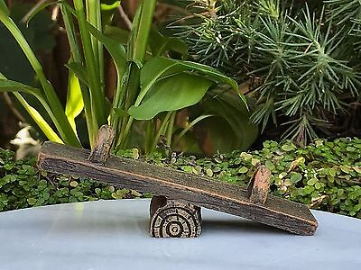 Miniature Dollhouse FAIRY GARDEN Furniture ~ Mini Log Look Resin Teeter Totter