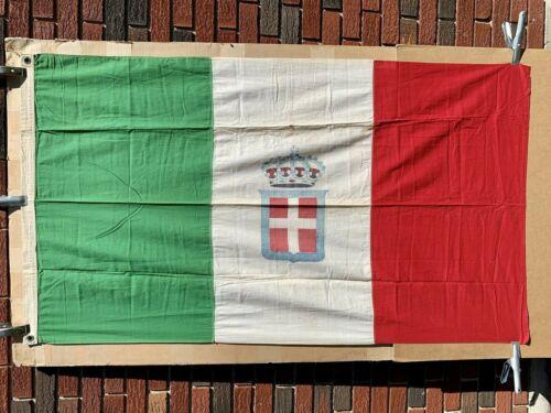 Kingdom Italy Italian Naval Ship WWII War Linen Flag Ensign Crown Savoy Crest