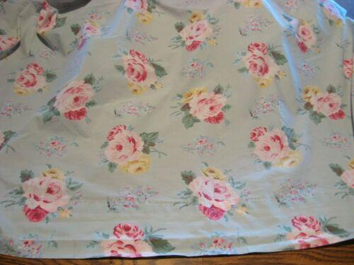 Vintage/Cottage  RALPH LAUREN Blue w/ Yellow/Pink Roses Flat Sheet - KING