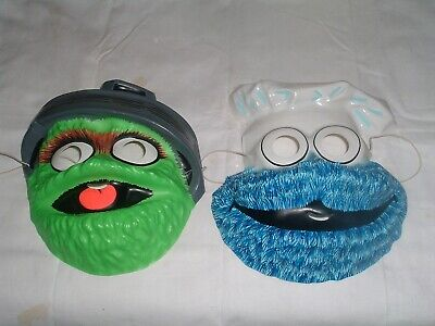 Vintage 1970s Two Sesame Street Halloween Mask Cookie Monster & Oscar Grouch