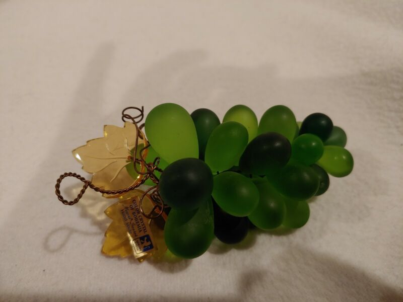Mavas Svaton Color Crystal of Bohemia  Grapes Bunch Green Czech Hand Made 4""