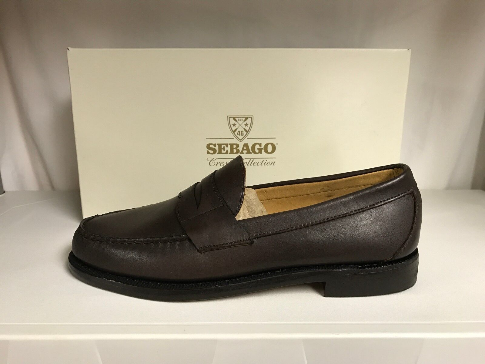 Sebago Crest Cayman II Mens Boat Shoes Leather Penny Loafers Moccasins Brown