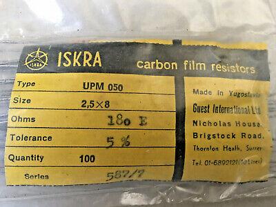100x Iskra Upm 050- 180 Ohm Vintage Carbon Film Resistors 5- 2.5 X 8 Mm- 180e