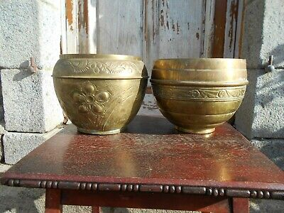 2 x vintage french brass planters/jardinieres/plant pots