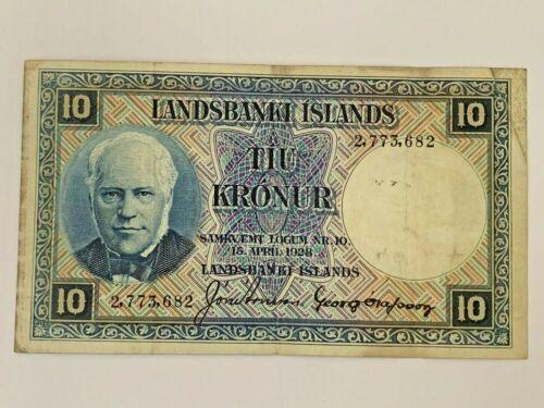 Iceland Landsbanki Islands 10  Kroner note April 15, 1928  #2,773,682  KRONUR