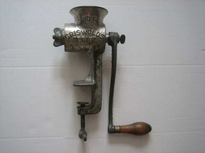 VINTAGE GRISWOLD #11 MEAT FOOD GRINDER ERIE, PA. KITCHEN COUNTER MOUNT ANTIQUE
