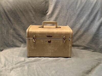 Vintage Samsonite Shwayder Bros Hard Shell Train Case Make Up Case Beige Marble