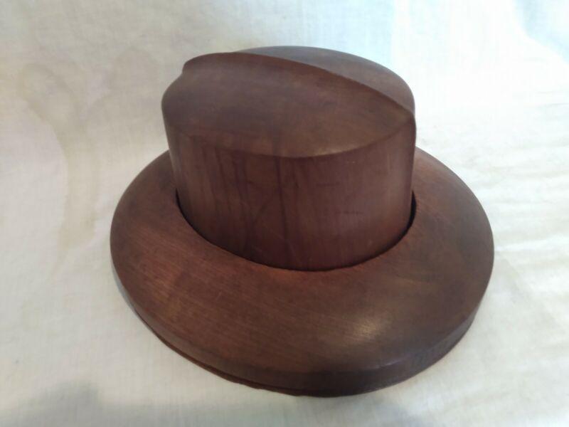 Antique Wood Hat Block Millinery Mold Brim Form Sz 7 3/8 #950 VERY FINE