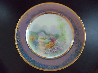 Pickard China Artist Signed Challinor Hand Painted Garden Scene Cabinet Plate!