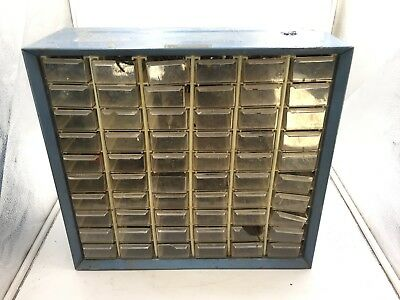 Estate Vintage 60 Drawer Storage Cabinet Metal Akro Mils With Parts Screws