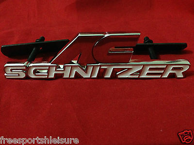 AC SCHNITZER WHITE  FRONT GRILL BADGE LOGO CHROME FINISH EMBLE</em>...