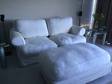 White 2 Seater Couch and Ottoman Augustine Heights Ipswich City Preview
