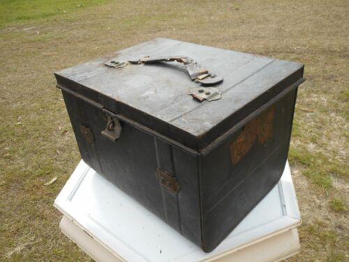 Antique Metal Black Railroad Railway Allan Brothers Co Liverpool Trunk Suitcase