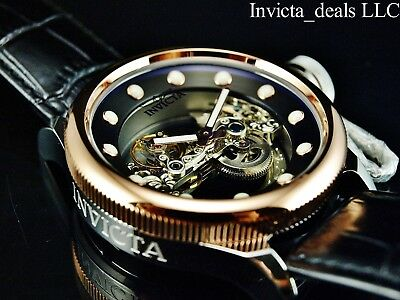 Invicta 52mm Russian Diver GHOST BRIDGE AUTOMATIC ROSE TONE Leather Watch-RARE