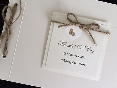 Personalised Handmade Vintage Rustic Twine Heart Wedding Card Guest Signing Book