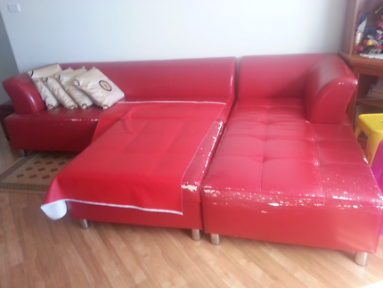 Red leather Sofa with Free TV & Wardrobe Mount Druitt Blacktown Area Preview