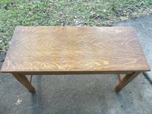 Antique Mission Arts & Crafts Quartersawn Oak Lift Seat Piano Bench