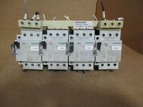 LOT OF 4 SIEMENS ELECTRIC MOTOR STARTERS WITH BUS BAR # 826140B USED