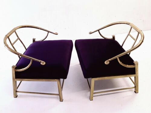 Vintage Mastercraft pair of brass chairs faux bamboo Pengally mid century Italy