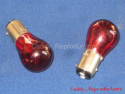1953 - 1966 Cadillac Tail Light Blinker Bulbs 12V - Red - Double Filament