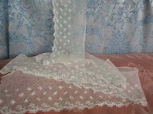 """Antique Tambour Net Lace Trim 4.7"""" Wide x 2Yards(74"""") French Doll Dress Flounce"""