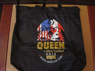 """Queen + Adam Lambert RARE VIP 2014 N.A.Tour Zippered Canvas Tote Bag 15"""" x 17"""""""
