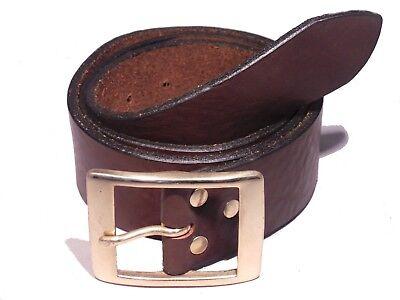 Brass Rectangle 1 3/4 Inch Leather Belt Waist Size Mens Ladies Black Brown Tan