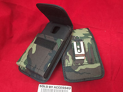 ARMY GREEN NYLON CASE HOLSTER BELT CLIP POUCH FOR SAMSUNG GALAXY J7 2018 ARMOR