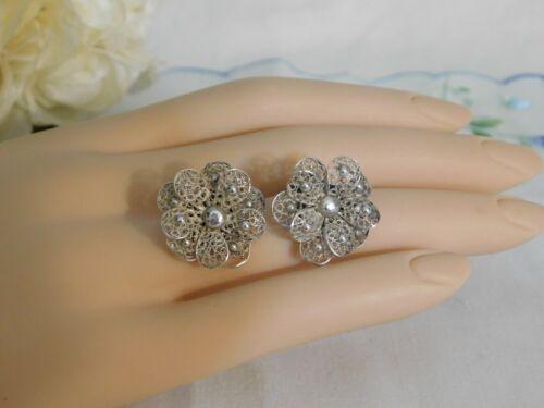 Vintage Silver 800 Filigree Flowers Clip on Earrings