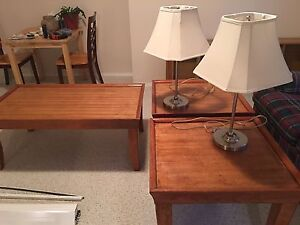 Coffee and end tables. With lamps