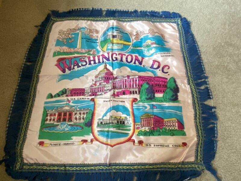Silk & Fringe Vintage Souvenir Pillow Cover Washington, D.C.