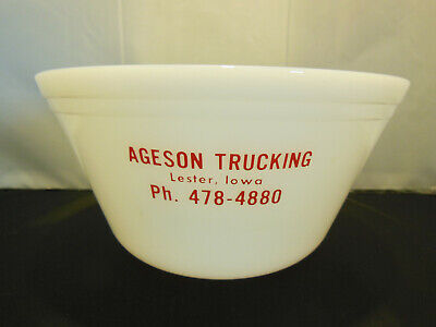 VINTAGE FEDERAL MILK GLASS BOWL ADVERTISING AGESON TRUCKING LESTER, IOWA