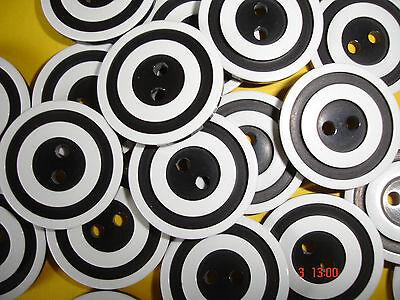 10 Knöpfe schwarz, weiß geringelt 2-Loch 15mm  W85.3
