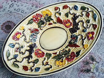 "Vintage Charlotte Rhead 12"" Hand Painted Indian Tree H. J. Wood Serving Platter"