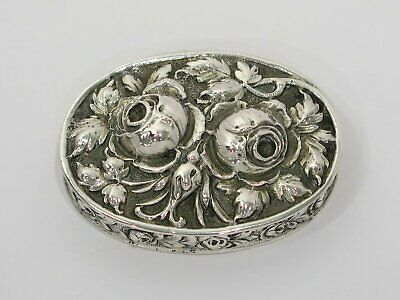 Silver Toned Etched Side Facing Dog Head Pendant Oval Trinket Jewelry Box