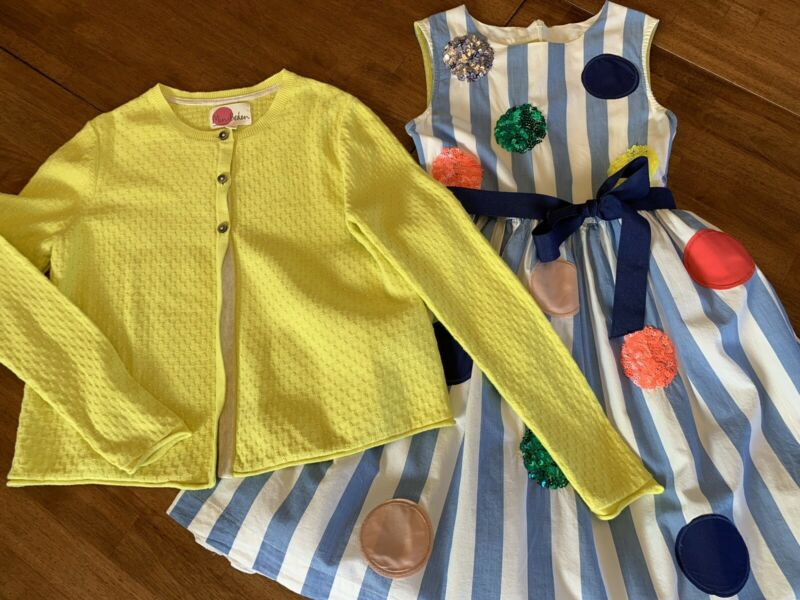 Mini Boden Girls 9-10 Dress Blue White Stripe With Sweater