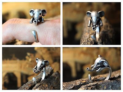 Baby Elephant Ring Adjustable Finger Wrap Antique Silver Free Shipping AR-13 ()